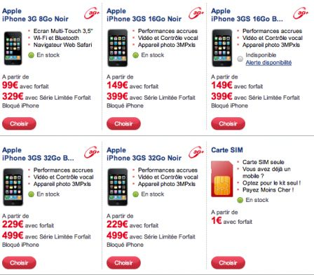 iPhone 3GS chez SFR 25/09